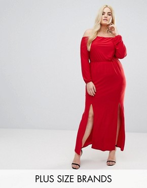 photo Bardot Maxi Dress with Split by Club L Plus, color Red - Image 1