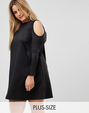 photo Ruffle Cold Shoulder A-line Dress by Club L Plus, color Black - Image 1