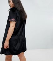 photo Velvet Shift Dress with Rose Embroidery by Club L Plus, color Black - Image 2