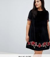 photo Velvet Shift Dress with Rose Embroidery by Club L Plus, color Black - Image 1