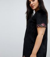 photo Velvet Shift Dress with Rose Embroidery by Club L Plus, color Black - Image 3