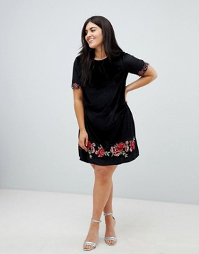 photo Velvet Shift Dress with Rose Embroidery by Club L Plus, color Black - Image 4