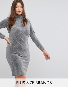 photo Metallic High Neck Dress by Club L Plus, color Silver - Image 1