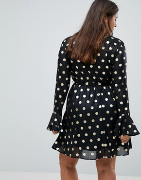 photo Ruffle Polka Dot Wrap Dress with Flute Sleeve by Club L Plus, color Gold Polka - Image 2