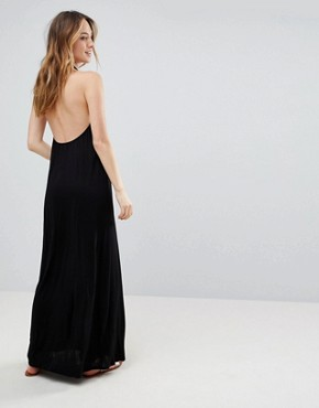photo Tie Front Plunge Jersey Maxi Beach Dress by ASOS TALL, color Black - Image 2