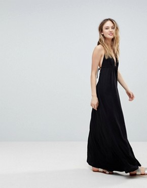 photo Tie Front Plunge Jersey Maxi Beach Dress by ASOS TALL, color Black - Image 4