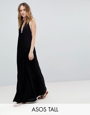 photo Tie Front Plunge Jersey Maxi Beach Dress by ASOS TALL, color Black - Image 1