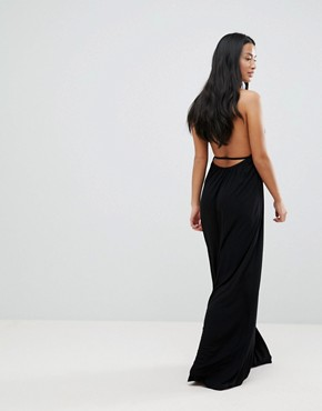 photo Tie Front Plunge Jersey Maxi Beach Dress by ASOS PETITE, color Black - Image 2