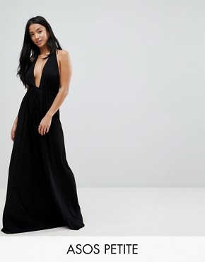 photo Tie Front Plunge Jersey Maxi Beach Dress by ASOS PETITE, color Black - Image 1