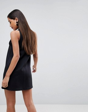 photo High Neck Embellished Trim Trapeze Mini Dress by ASOS, color Black - Image 2
