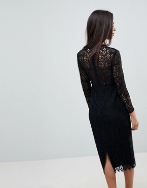 photo Long Sleeve Lace Midi Pencil Dress by ASOS PETITE, color Black - Image 2