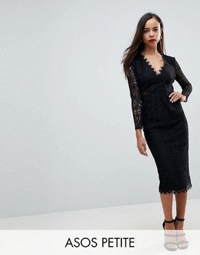 photo Long Sleeve Lace Midi Pencil Dress by ASOS PETITE, color Black - Image 1