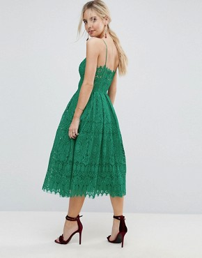 photo Lace Cami Midi Prom Dress by ASOS PETITE, color Bright Green - Image 2