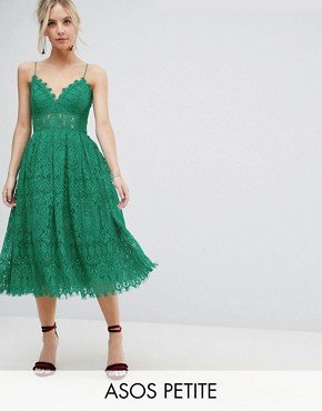 photo Lace Cami Midi Prom Dress by ASOS PETITE, color Bright Green - Image 1