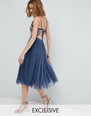 photo Cami Strap Midi Dress with Open Back by Needle & Thread, color Washed Blue - Image 1