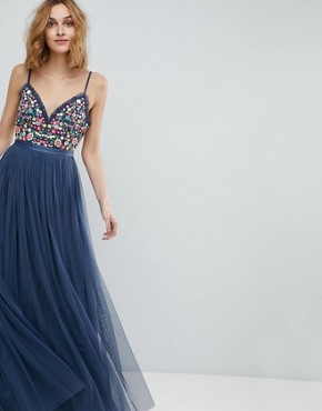 photo Cami Strap Maxi Dress with Open Back by Needle & Thread, color Washed Blue - Image 2