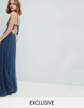 photo Cami Strap Maxi Dress with Open Back by Needle & Thread, color Washed Blue - Image 1