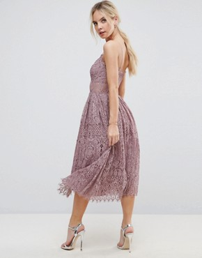 photo Lace Cami Midi Prom Dress by ASOS PETITE, color Dusky Lilac - Image 2