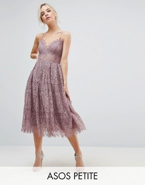 photo Lace Cami Midi Prom Dress by ASOS PETITE, color Dusky Lilac - Image 1