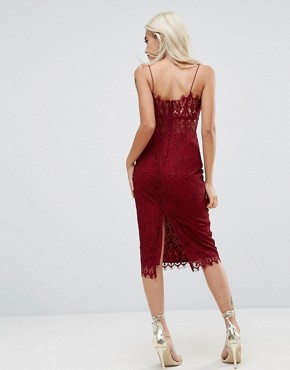 photo Lace Cami Midi Pencil Dress by ASOS PETITE, color Oxblood - Image 2