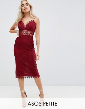 photo Lace Cami Midi Pencil Dress by ASOS PETITE, color Oxblood - Image 1