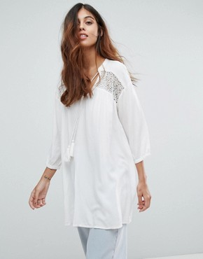 photo Embroidered Tunic Dress by Vero Moda, color Snow White - Image 1