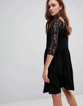 photo Lace A-Line Midi Dress by Pepe Jeans, color Black - Image 2