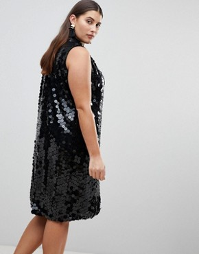 photo High Neck Swing Dress in Sequin by Lost Ink Plus, color Black - Image 2