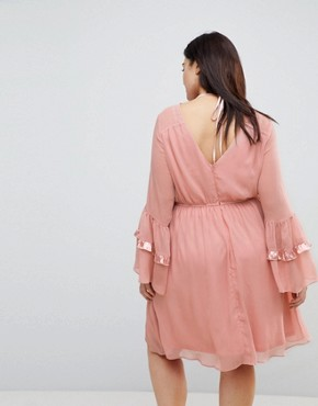 photo Smock Dress with Tiered Ruffle Sleeves by Lost Ink Plus, color Blush - Image 2