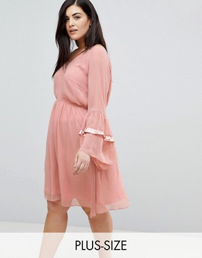 photo Smock Dress with Tiered Ruffle Sleeves by Lost Ink Plus, color Blush - Image 1