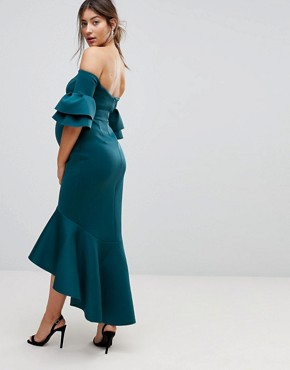photo Bardot Bodycon Pephem Midi Dress by ASOS Maternity PREMIUM, color Teal - Image 2