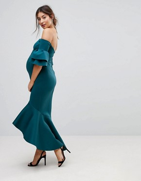 photo Bardot Bodycon Pephem Midi Dress by ASOS Maternity PREMIUM, color Teal - Image 1