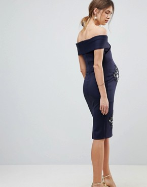 photo Twist Front Bardot Dress with Embellishment by ASOS Maternity, color Navy - Image 2