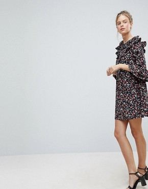 photo Frill Sleeve Floral Shift Dress by Influence, color Multi - Image 4