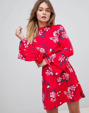 photo High Neck Floral Dress with Tiered Sleeve by Influence, color Multi - Image 1