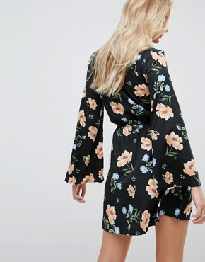 photo Flared Sleeve Frill Wrap Floral Dress by Influence Tall, color Multi - Image 2