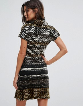 photo High Neck Printed Dress by Jasmine, color Brown - Image 2