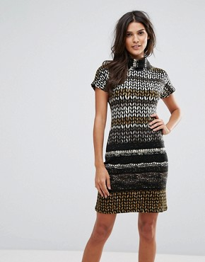 photo High Neck Printed Dress by Jasmine, color Brown - Image 1