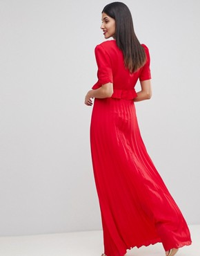 photo Pleated Maxi Tea Dress by ASOS TALL, color Red - Image 2