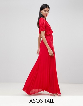 photo Pleated Maxi Tea Dress by ASOS TALL, color Red - Image 1