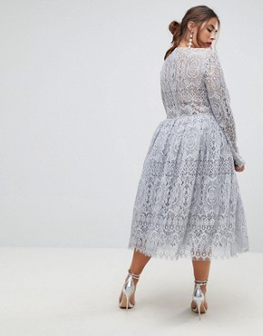 photo Long Sleeve Lace Midi Prom Dress by ASOS CURVE, color Grey - Image 2