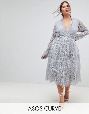 photo Long Sleeve Lace Midi Prom Dress by ASOS CURVE, color Grey - Image 1