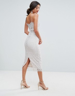 photo Lace Cami Midi Pencil Dress by ASOS TALL, color Off White - Image 2