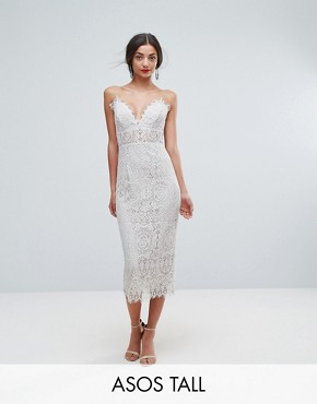 photo Lace Cami Midi Pencil Dress by ASOS TALL, color Off White - Image 1