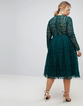 photo Long Sleeve Lace Midi Prom Dress by ASOS CURVE, color Green - Image 2
