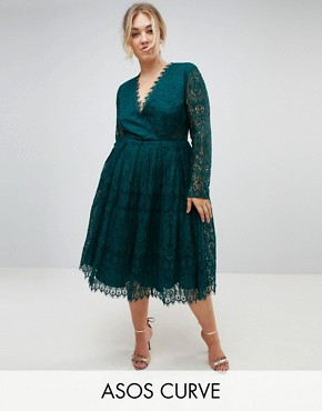 photo Long Sleeve Lace Midi Prom Dress by ASOS CURVE, color Green - Image 1