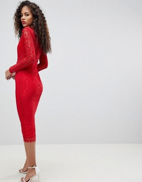 photo Long Sleeve Lace Midi Pencil Dress by ASOS TALL, color Red - Image 2