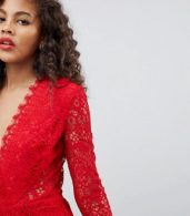 photo Long Sleeve Lace Midi Pencil Dress by ASOS TALL, color Red - Image 3