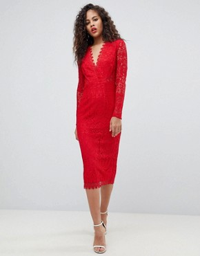 photo Long Sleeve Lace Midi Pencil Dress by ASOS TALL, color Red - Image 4