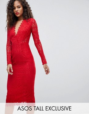 photo Long Sleeve Lace Midi Pencil Dress by ASOS TALL, color Red - Image 1
